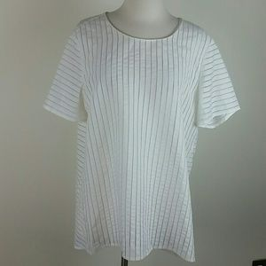 J. Crew stripe blouse top ivory 14tall